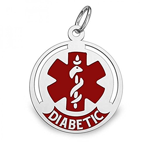 PicturesOnGold.com Sterling Silver Round Diabetic Medical ID Charm or Pendant W/Red - 1/2 Inch X 1/2 Inch WITH ENGRAVING