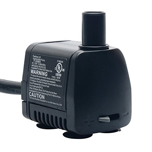 PeakTop 80 GPH Submersible Water Pump with 6' Cord for Aquarium, Fountain Replacement, Statuary, Hydroponic, PT-808MIX UL Listed Comes with 1 Year Limited (Powerhead Impeller)