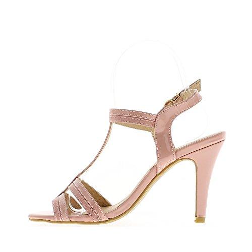 Talón sandalias mujeres rosas 10,5 cm