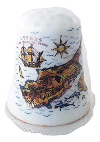 Souvenir Thimble Ceramic Paphos/Nicosia/Limasol/Larnaca map Cyprus Aphrodite