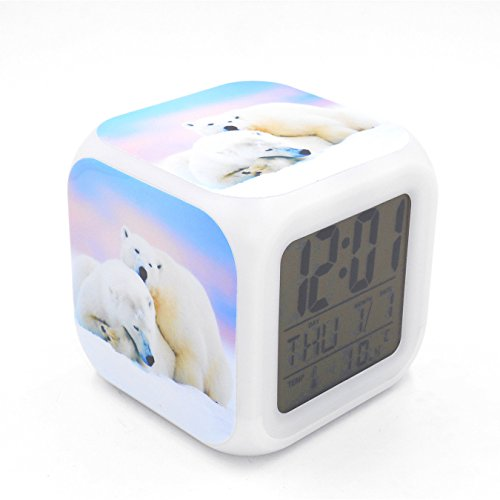 Desk Clock Bear (BoFy Led Alarm Clock White Polar Bear Personality Creative Noiseless Multi-Functional Electronic Desk Table Digital Alarm Clock for Unisex Adults Kids Toy Gift)