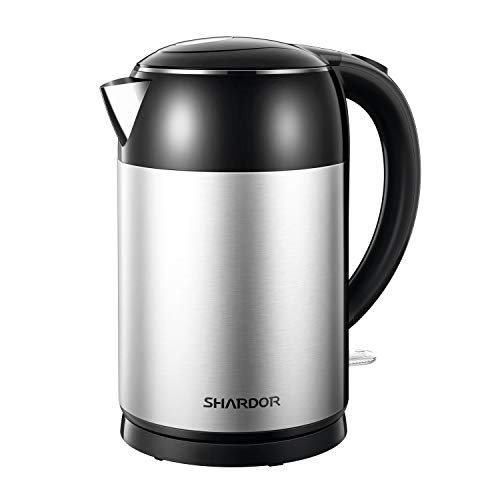 Shardor Electric Kettle Stainless Steel BPA Free Water Boiler 1.7L Double Wall Tea Heater Boiler with Auto Shut-Off, Boil-Dry Protection, Black