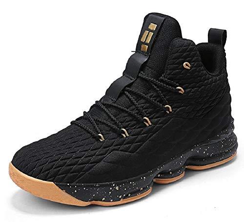 JIYE Women's Men's Fashion Basketball Shoes Wear Resistant Flyknit Sneakers,Black Gold,44EU=10US-Men/11.5US-Women