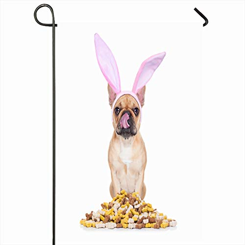 Ahawoso Seasonal Garden Flag 12x18 Inches Feast Baby Easter Bunny Ears French Bulldog Dog Hunger Holidays Biscuits Bone Bowl Breakfast Canine Home Decorative Outdoor Double Sided House Yard Sign -