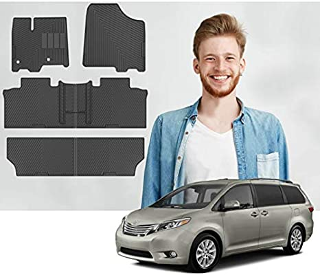 Road Comforts Custom Fit Toyota Sienna 8 Seater 1st 2nd 3rd Row All Weather Mats Heavy Duty 2011 2012 2013 2014 2015 2016 2017 2018 2019 2020 6pcs Black Buy Online At Best Price In Uae Amazon Ae