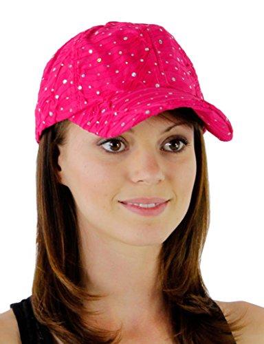 Glitzy Game Sequin Trim Baseball Cap for Ladies, Fuchsia