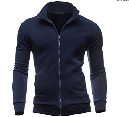 College Luxury with Jacket Mens Energy Pocketed Navy Blue Collar Solid Zips Stand Yw4Rxq81R