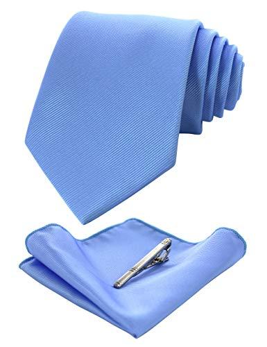JEMYGINS Light Blue Formal Necktie and Pocket Square Tie Clip Sets for Men (39)