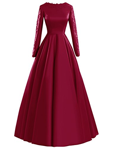 Fluorodine Women's Lace Long Sleeve Long A Line Satin Prom Dress Evening Gown US6 Burgundy
