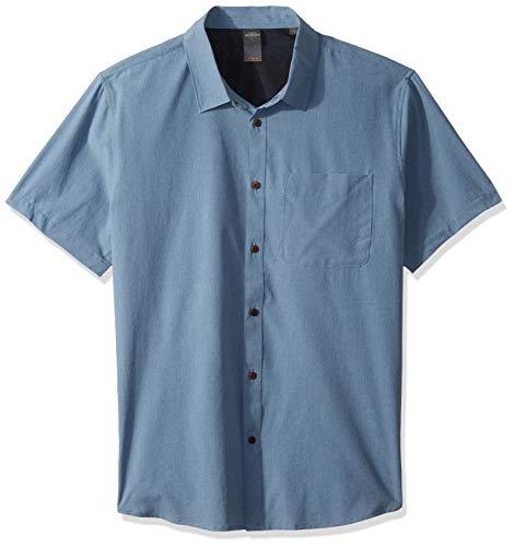 Quiksilver Waterman Men's Tech Tides Button Down Shirt, Blue Shadow Marl, -
