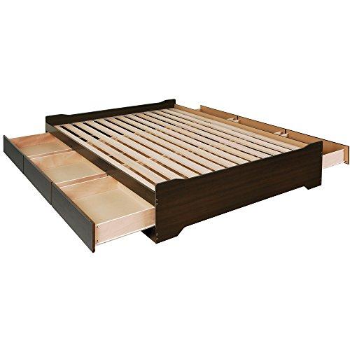 Prepac EBQ-6200-3BV Coal Harbor Mate's Platform Storage Bed with 6-Drawers, Espresso, Queen (3 Storage Drawer Platform)
