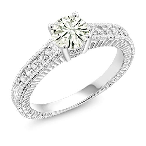 925 Sterling Silver Solitaire w- Accent Stones Ring Forever Classic (IJK) Round 0.80ct (DEW) Created Moissanite by Charles & Colvard and Created Sapphire (Size 9)