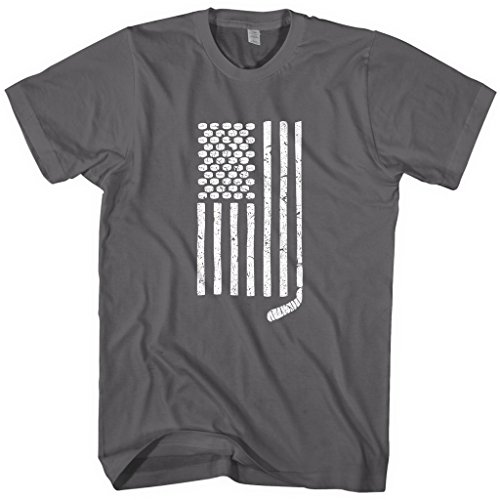 (Mixtbrand Men's Hockey Stick and Pucks American Flag T-Shirt L)