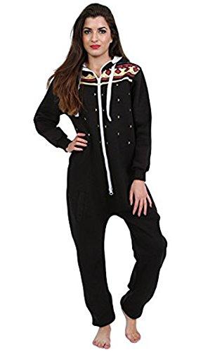 Juicy Trend Mujer Adulto Onesie Ropa de dormir Pijamas OnePiece - Mono para Mujer Heaven Aztec Black