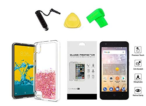 for ZTE Avid 559 Liquid Glitter Cover Phone Case + Tempered Glass Protector + Extreme Band + Stylus Pen + Pry Tool (Rosegold)