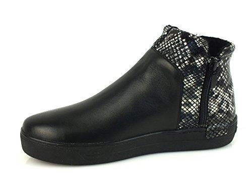 CAF NOIR DB912 pies de gato negro mediados sheakers mujer cremallera lateral pitón Nero