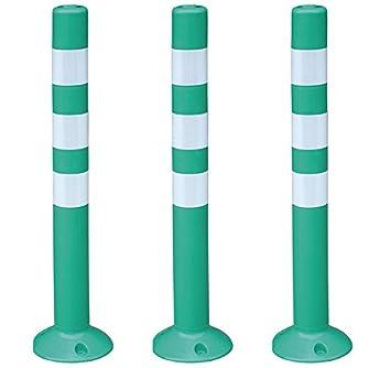 Pilona flexible de plá stico polietileno de gran flexibilidad en color verde. Hito flexible de plá stico con reflectantes para indicació n y balizamiento (3 Pilonas flexibles) Ado Cerramientos Metálicos SA