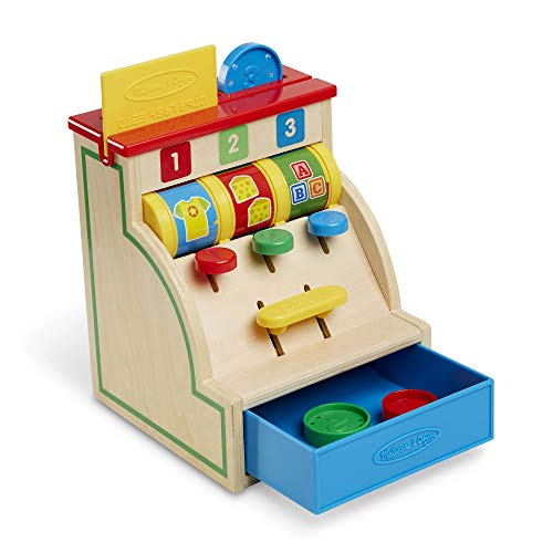 Melissa & Doug Spin and Swipe Wooden Toy Cash Register with 3 Play Coins,...