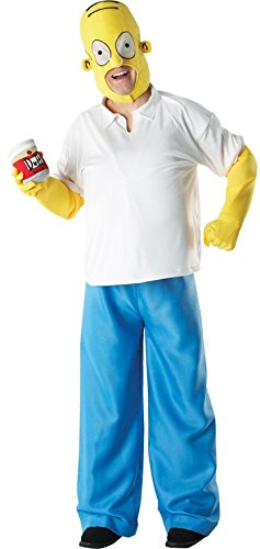 Adult Mens Homer Simpson The Simpsons American 1990s TV Cartoon Film Halloween Fancy Dress Costume Outfit (STD, Homer)