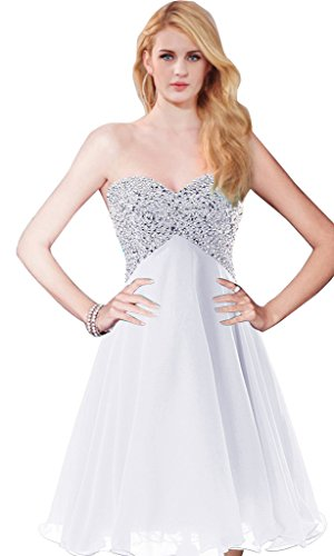 Chiffon A Dress Aurora Cocktail Gown Short Prom Bridal line White Beads RzgZqtwg