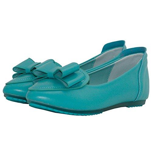 AalarDom Damen Spitz Zehe Ohne Absatz Rein Ziehen Auf Flache Schuhe Blau