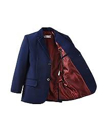 YuanLu Toddlers Boys Blazer Sport Coat for Kids Navy Blue and Black