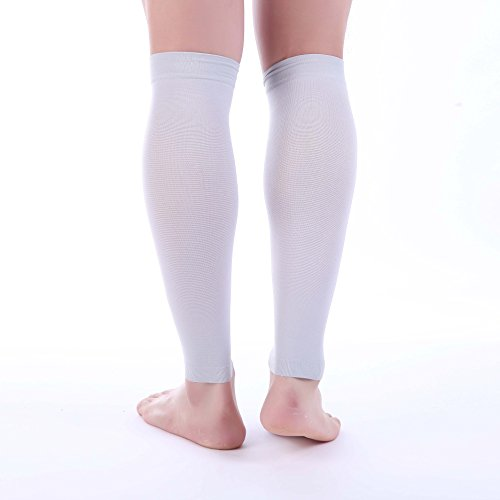 Premium Calf Compression Sleeve 1 Pair 20-30mmHg Strong Calf Support Fashionable COLORS Graduated Pressure for Sports Running Muscle Recovery Shin Splints Varicose Veins Doc Miller (Gray, Medium) (Banks Plaid Shirt)