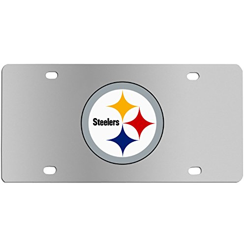 Nfl Stainless License Plate - Siskiyou NFL Pittsburgh Steelers Steel License Plate with Digital Graphics