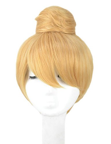 Wigs have an attractive convenience fashion Angelaicos Womens Princess Tinker Bell Cute Girl Bun Short Blonde Updo Halloween Party Costume Cosplay (Cute Halloween Costumes Tumblr)
