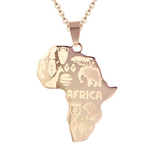 (FJ Hip Hop Jewelry Africa Map Necklace Fashion Animal Pendant)