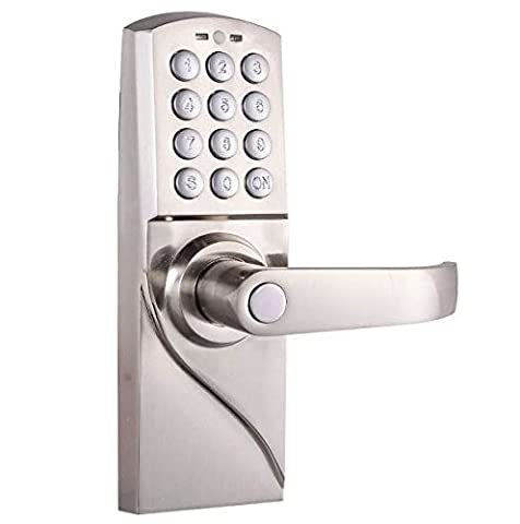 Right Handed Handle Digital Keyless Entry Door Lock Code Electronic Keypad Security Right Mechanical Combination Tag Home Office New Stainless Steel with Emergency Override - Double Cylinder Rim Device