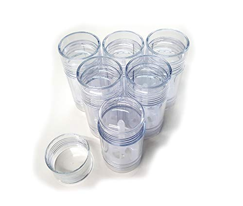 Empty Deodorant Containers - Twist-up, Reusable, Recyclable, DIY Empty Deodorant Tubes, Bottom-fill 2.0 Oz (6-Pack, Clear) ()
