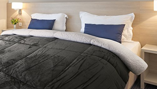 Comforter Sherpa Flannel - All Season - Machine Washable - Luxury Goose Down Alternative - Reversible - Ultra Soft - Box Stitched - By Utopia Bedding (Queen)