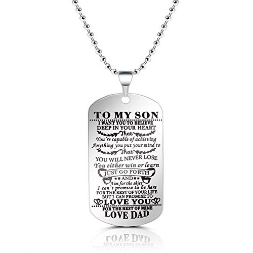 SUMMER LOVE to My Son from Dad I Want You to Believe Love Dad Dog Tag Military Air Force Navy Coast Guard Necklace Ball Chain Gift for Best Son Birthday ()
