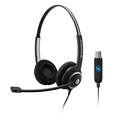 Sennheiser DeskMate Dual-Eared corded computer headset with USB connection. Works with PC and Mac. Perfect for Skype and Dragon voice dictation software.