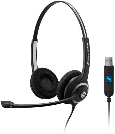 Sennheiser Deskmate dual-earedコード式コンピュータヘッドセットUSB接続付き。Works With PCとMac。Perfect for Skype and Dragon Voiceディクテーションソフトウェア。