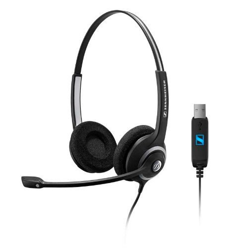 Sennheiser DeskMate Dual-Eared corded computer headset with USB connection. Works with PC and Mac. Perfect for Skype and Dragon voice dictation software. by Headsets.com