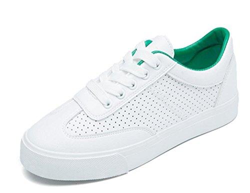 XIE Señora Zapatos Retro Pequeños Zapatos Blancos Plano Fondo Movimiento Ocio Cómodo Estudiantes Escuela Diaria Blanco Verde, Green, 39 GREEN-39
