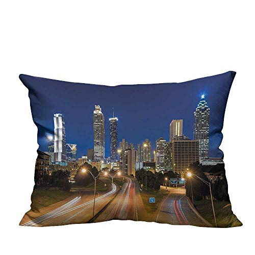 YouXianHome Decorative Throw Pillow Case Atlanta Skyl e Twilight Highway Skyscrapers Blurred Moti Multicolor Ideal Decoration(Double-Sided Printing) 13x17.5 inch ()