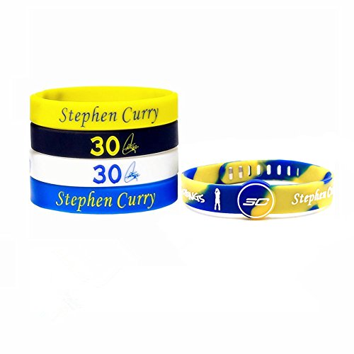 Basketball Silicone Wristband Bracelet -4 or 5PCS Assorted Color - One of The Five is Adjustable (Curry3030) ()