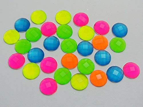 FidgetKute 200 Mixed Neon Color Flatback Acrylic Round Rhinestone Gems 8mm No Hole