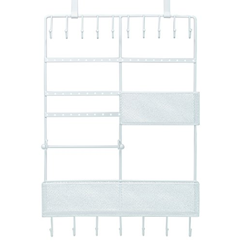 Large Decorative Hanging Over the door Jewelry, Belt Organizer, 17 Hooks, 2 Baskets, White