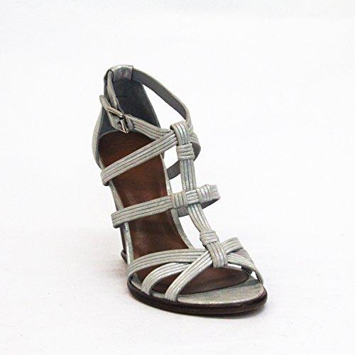Juicy Couture Distressed metálico T Cruz Correa Sandalias Talla 3,5 - Metallic-silver