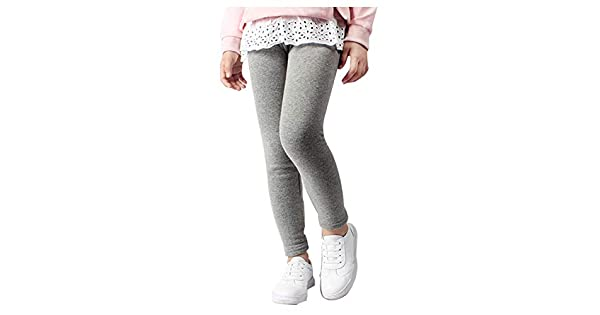 CLOTPUS Girl's Cotton Fleece Lined Thick Leggings Pants Slim