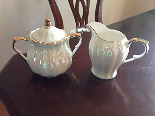 Grace's Teaware Iridescent White & Gold Creamer and Sugar Cup with Lid ()