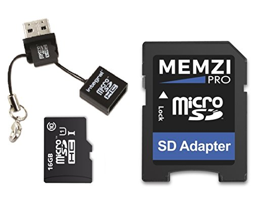 Price comparison product image MEMZI PRO 16GB Class 10 90MB / s Micro SDHC Memory Card with SD Adapter and Micro USB Reader for Nintendo Wii,  Switch or Hand Held Consoles