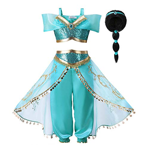 Pettigirl Girls Princess Jasmine Dress Up Costumes Halloween Party Fancy Dress (11-12 Years, Arabian -