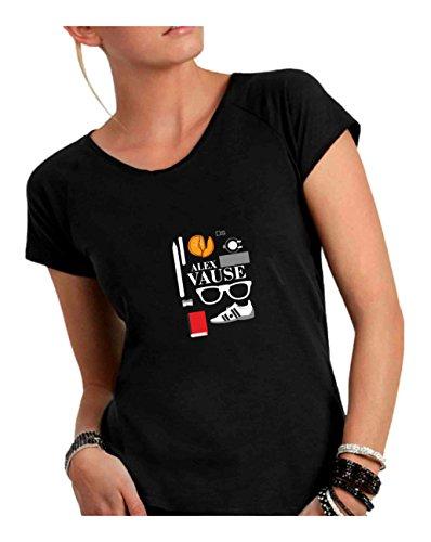 Scollo Cotone in a T Ampio Taglio Fiammato Nero Alex Made Vause Divertente Donna Italy Vivo Humor Shirt qwnq4SEI