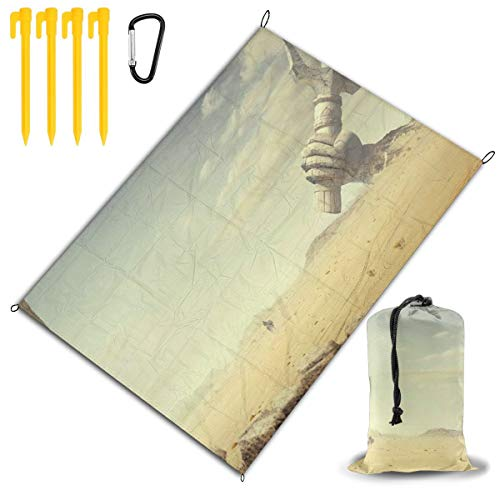 LHLX HOME Egypt Ancient Monuments Athens Sites Temple Desert Picnic Blanket Handy Beach Mat with Waterproof Backing Anti Sand for Picnics, Beaches, Camping and Outings 78x57