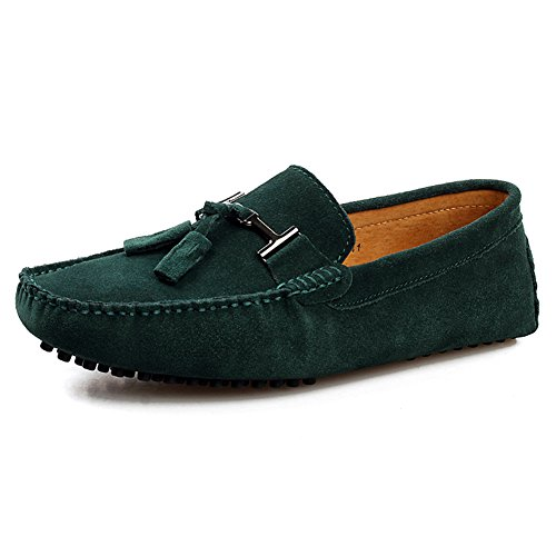 rismart Mens Stylish Tassel Suede Loafers Flats Comfort Driving Boat Shoes Green 2080 US11.5